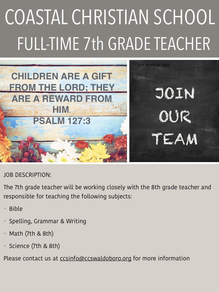 7th Grade Teacher Needed